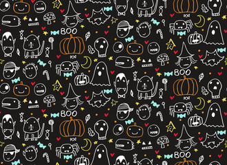 Seamless Halloween pattern for card, flayer, banner, poster templates. Hand drawn traditional symbols, cute design elements, handwritten ink lettering. Made in the technique of hand drawing.
