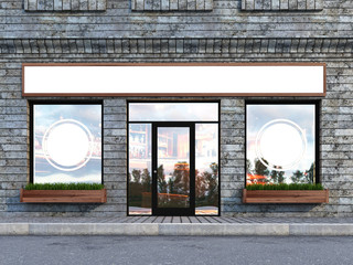 Outdoor mock up, with a stone facade cafe, 3d rendering, three poster