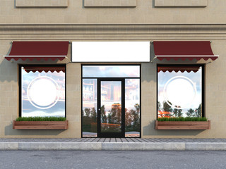 Outdoor mock up, a classical facade cafe, 3d rendering, three poster
