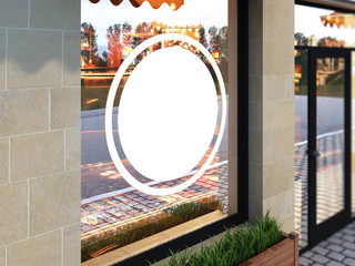 Outdoor mock up, a classical facade cafe, 3d rendering, billboard in the window