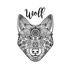 Zentangle wolf head with hand drawn guata vector ornament
