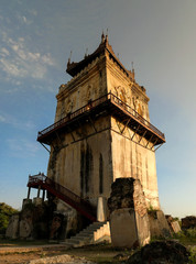 Ava masonry watchtower, example of early 19th century Burmese architecture, Myanmar