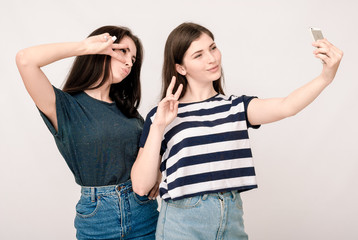 Positive friends portrait of two girls making selfie, funny face