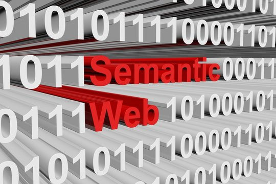 semantic web in the form of binary code, 3D illustration