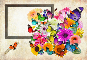 Nature art composition - Colorful flowers, butterflies and ladybug. Wooden frame with blank space (for photo,picture or text). Old paper texture background. Vintage style image