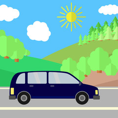 Dark Blue Sport Utility Vehicle on a Road on a Sunny Day. Summer Travel Illustration. Car over Landscape.
