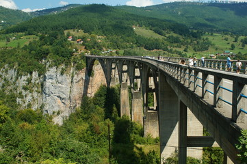 Bridge of Jurjevicha concrete arch  over the Tara river