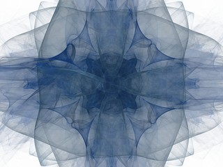 Transparent blue square floral pattern in the form of an abstract fractal
