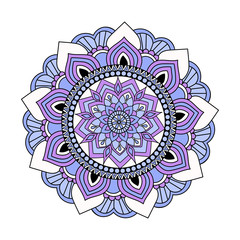 Colorful vector hand drawn doodle mandala