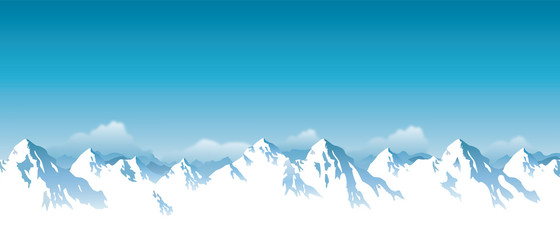 Vector illustration of snowy Himalaya mountains