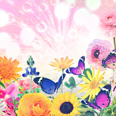 Colorful beautiful flowers and butterflies against magic sun light blurred background with sparkle spots. Summertime nature abstract. Toned colors image