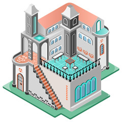 House in oriental style. Terrace with chess table, two tower and carpeted staircase.3D isometric view. Vector illustration.