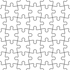 Jigsaw puzzle seamless background. Mosaic of white puzzle pieces with black outline in linear arrangement. Simple flat vector illustration.