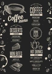 Menu coffee restaurant, beverage template placemat.