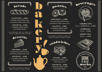 Menu bakery restaurant, food template placemat.
