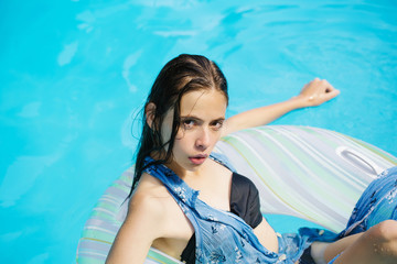 sexy woman in swimming pool