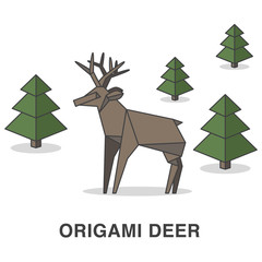 Origami style deer and trees illustration.
