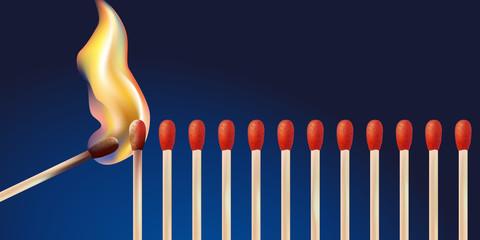 Effet domino - Allumettes - Flamme