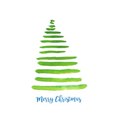 Watercolor vector illustration of Christmas tree. Merry Christmas and Happy New Year greeting card.