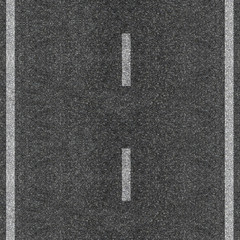 Seamless texture of grey asphalt road with white stripes