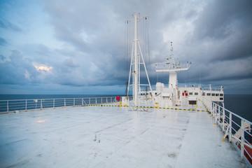 Boat deck on sea