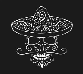 Mexican skull with sombrero, Day of the dead white color