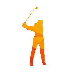 Polygonal golf player, abstract orange isolated vector golfer si