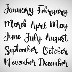 Months of the year handwritten lettering set