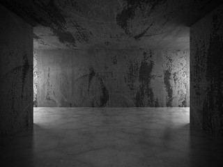 Dark concrete empty room. Grunge architecture modern background