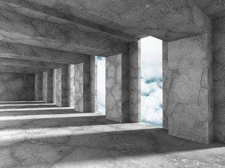 Abstract concrete architecture on cloud sky background