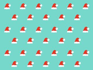 Santa hat pattern on blue background