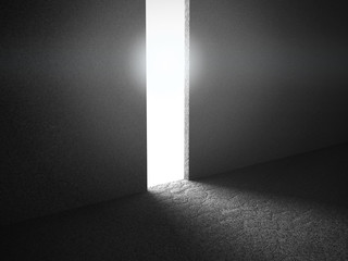 Abstract concrete walls room interior with light door exit
