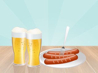 beer and sausages for Oktoberfest