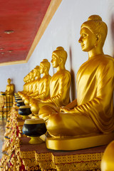 Golden Buddhas sitting in row