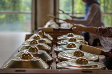 "Traditional balinese percussive music instruments for ""Gamelan"" ensemble music, traditional music in Bali and Java, Indonesia."