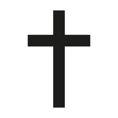 Latin Cross Icon black silhouette. Ancient Christian sign. Vector illustration.