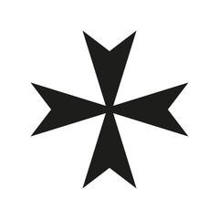 Maltese Cross Icon black silhouette. Ancient Christian sign. Vector illustration.