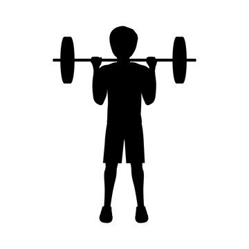 silhouette man weightlifting second position vector illustration