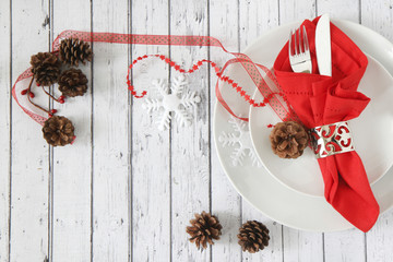 Christmas table place setting with space for text