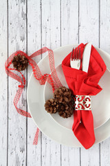 Christmas table place setting