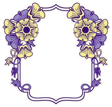 Beautiful frame with blue and yellow  flowers.
