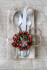 Rustic Christmas Table setting with linen