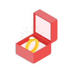 Wedding diamond ring in a box. Vector illustration