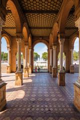 Architectural complex of Plaza de Espana in Sevilla, Andalusia province, Spain.