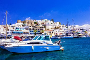 Foto auf Acrylglas Stadt am Wasser beautiful Greek island - Naxos, view of marina and Chora village