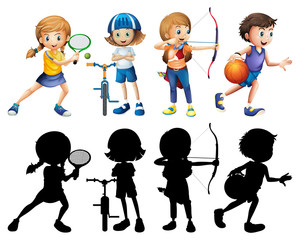 Children doing different sports set with silhouette