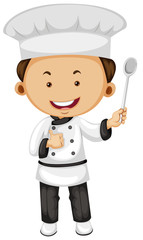 Male chef holding spoon