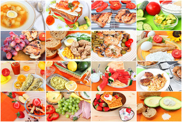 Various delicious meals of meat, poultry, fish.Snacks and desserts.Vegetarian salad, dairy products, soups and beverages. Diverse food to suit different tastes