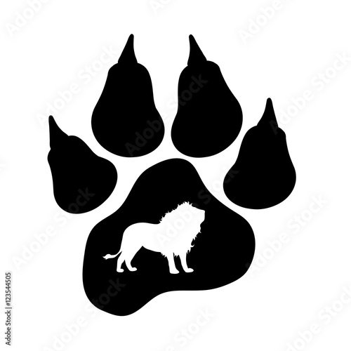 quot vector silhouette of lion s paw  quot  stock image and royalty Cougar Claw Drawing Cougar Claw Drawing