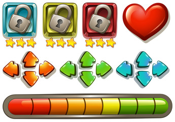 Game elements with locks and arrows